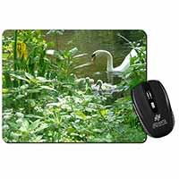 Swan and Baby Cygnets Computer Mouse Mat Birthday Gift Idea