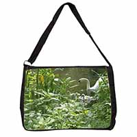 Swan and Baby Cygnets Large Black Laptop Shoulder Bag School/College