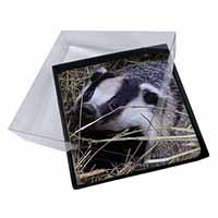 4x Badger in Straw Picture Table Coasters Set in Gift Box