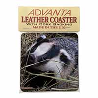 Badger in Straw Single Leather Photo Coaster Perfect Gift