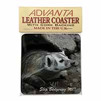 Badger-Stop Badgering Me! Single Leather Photo Coaster Perfect Gift