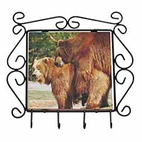 Grizzly Bears in Love Wrought Iron Key Holder Hooks Christmas Gift