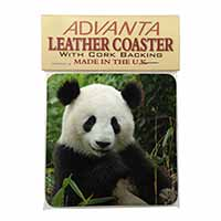 Beautiful Panda Bear Single Leather Photo Coaster Perfect Gift