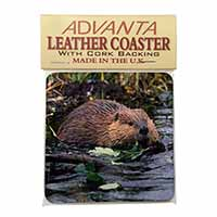 River Beaver Single Leather Photo Coaster Perfect Gift