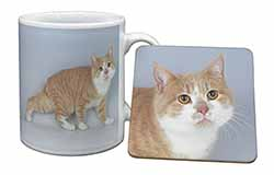 Ginger+White Manx Cat Mug+Coaster Birthday Gift Idea