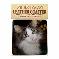 Beautiful Tabby Cat Single Leather Photo Coaster Perfect Gift