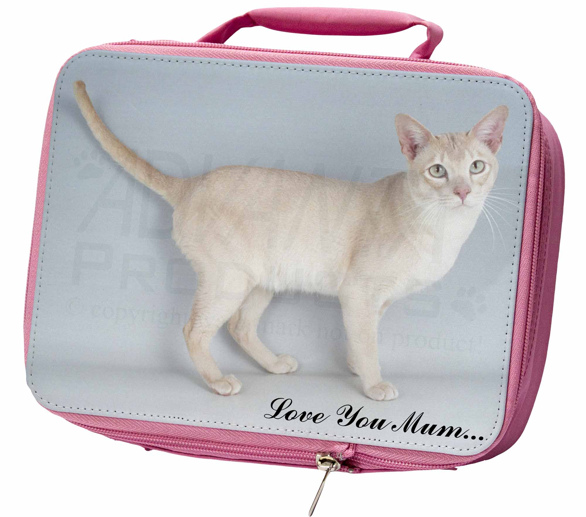 Tonkinese Cat 'Love You Mum' Insulated Pink School Lunch Box Bag, AC114lymLBP