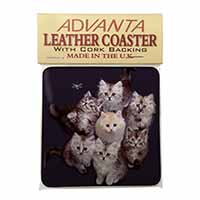 Cute Kittens+Dragonfly Single Leather Photo Coaster Perfect Gift