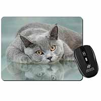 British Blue Cat Laying on Glass Computer Mouse Mat Birthday Gift Idea