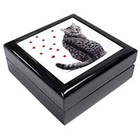 Silver Tabby Cat with Red Hearts Keepsake/Jewel Box Birthday Gift Idea