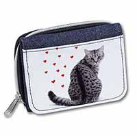 Silver Tabby Cat with Red Hearts Girls/Ladies Denim Purse Wallet Birthday Gift I