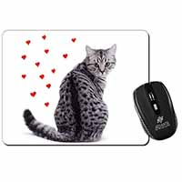 Silver Tabby Cat with Red Hearts Computer Mouse Mat Birthday Gift Idea