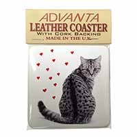 Silver Tabby Cat with Red Hearts Single Leather Photo Coaster Perfect Gift