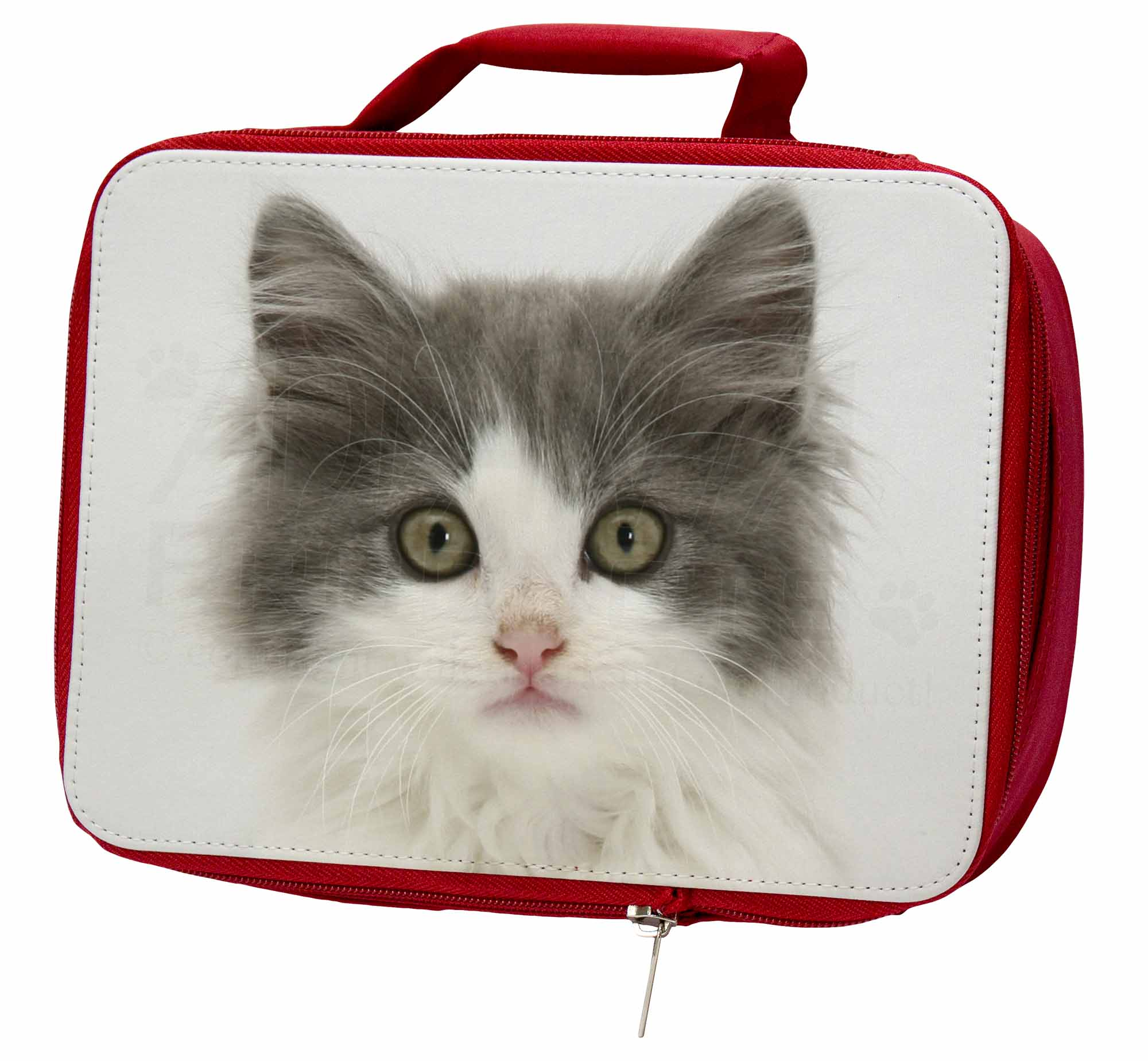 Grey, Face White Kittens Face Grey, Insulated Red School Lunch Box/Picnic Bag, AC-153LBR 55eec4