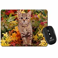Tabby Kitten in Foilage Computer Mouse Mat Birthday Gift Idea