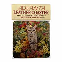 Tabby Kitten in Foilage Single Leather Photo Coaster Perfect Gift