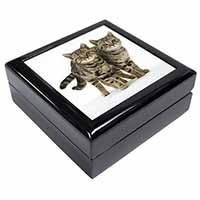 Two Brown Tabby Cats Keepsake/Jewellery Box Birthday Gift Idea