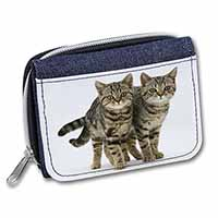 Two Brown Tabby Cats Girls/Ladies Denim Purse Wallet Birthday Gift Idea