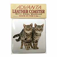 Two Brown Tabby Cats Single Leather Photo Coaster Perfect Gift