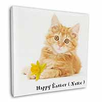 "Ginger Cat Personalised Name 12""x12"" Wall Art Canvas Decor, Picture Print"
