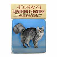 Silver Maine Coon Cat Single Leather Photo Coaster Perfect Gift