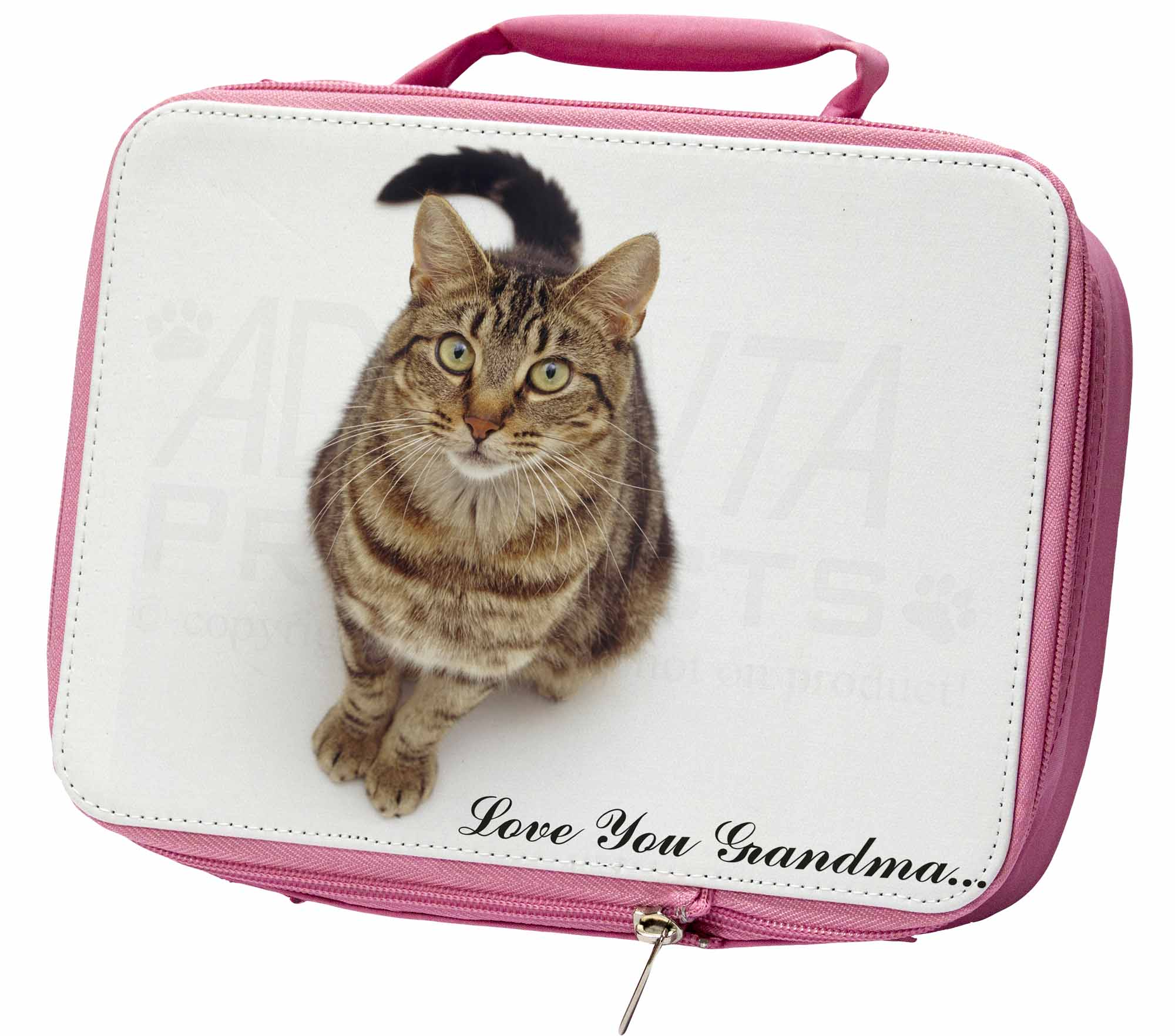 Brown Tabby Cat 'Love You Grandma' Insulated Pink School Lunch Box, AC160lygLBP