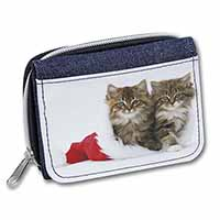 Christmas Kittens Girls/Ladies Denim Purse Wallet Birthday Gift Idea