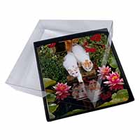 4x Turkish Van Cats by Fish Pond Picture Table Coasters Set in Gift Box