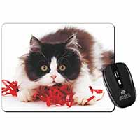 Kitten with Red Ribbon Computer Mouse Mat Birthday Gift Idea