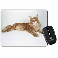 Red Maine Coon Cat Computer Mouse Mat Birthday Gift Idea