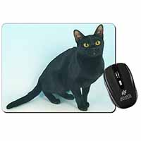Pretty Black Bombay Cat Computer Mouse Mat Birthday Gift Idea