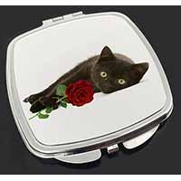 Black Kitten with Red Rose Make-Up Compact Mirror Birthday Gift Idea