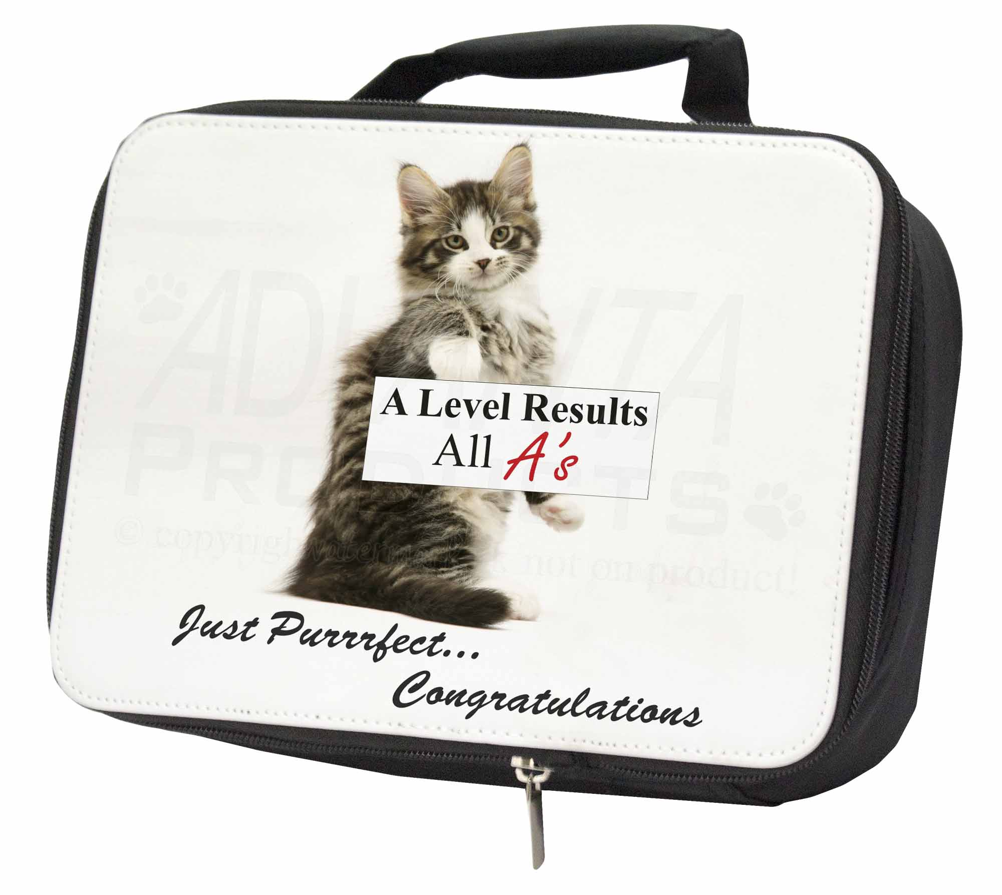 100% Vero A Level 'congratulations' Cat Black Insulated School Lunch Box Bag, Ac-188al1lbb
