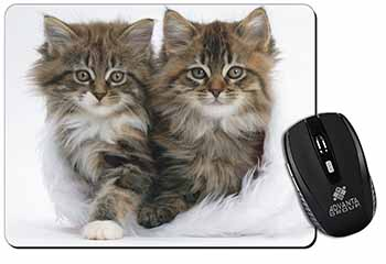 Kittens in White Fur Hat Computer Mouse Mat Birthday Gift Idea