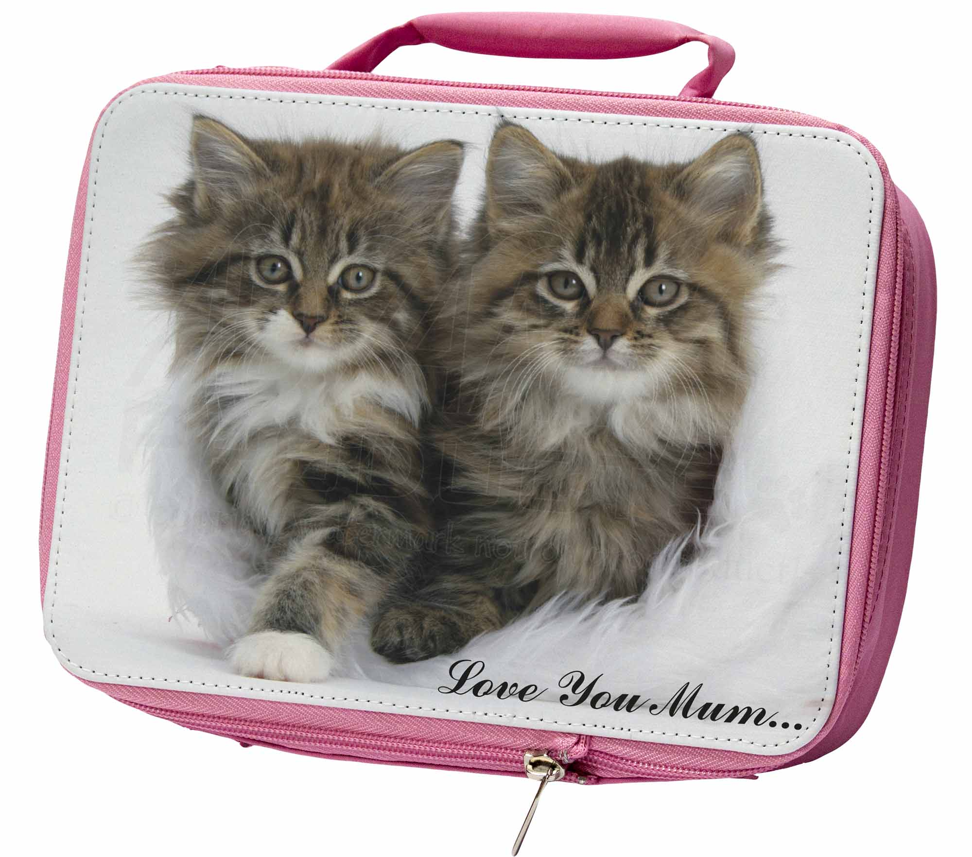 'Love You Mum' Mothers Day Cats Insulated Pink School Lunch Box Ba, AC189lymLBP
