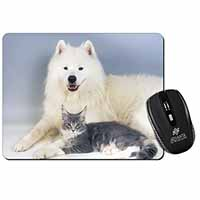 Samoyed and Cat Computer Mouse Mat Birthday Gift Idea