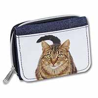 Face of Brown Tabby Cat Girls/Ladies Denim Purse Wallet Birthday Gift Idea