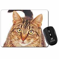 Face of Brown Tabby Cat Computer Mouse Mat Birthday Gift Idea