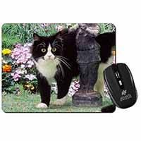 Black and White Cat in Garden Computer Mouse Mat Birthday Gift Idea
