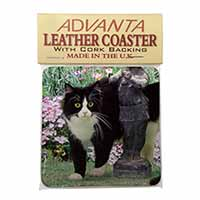 Black and White Cat in Garden Single Leather Photo Coaster Perfect Gift