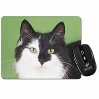 Black and White Cats Face Computer Mouse Mat Birthday Gift Idea