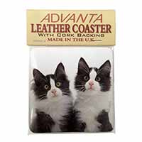 Black and White Kittens Single Leather Photo Coaster Perfect Gift