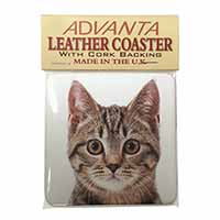 Brown Tabby Cats Face Single Leather Photo Coaster Perfect Gift