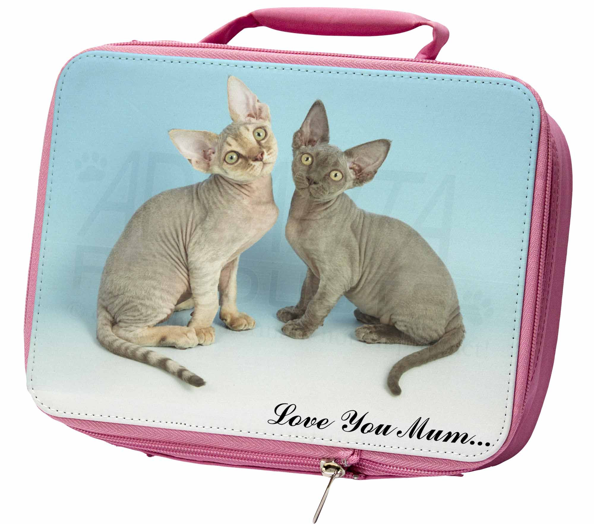 Devon Rex Cats 'Love You Mum' Insulated Pink School Lunch Box Bag, AC20lymLBP