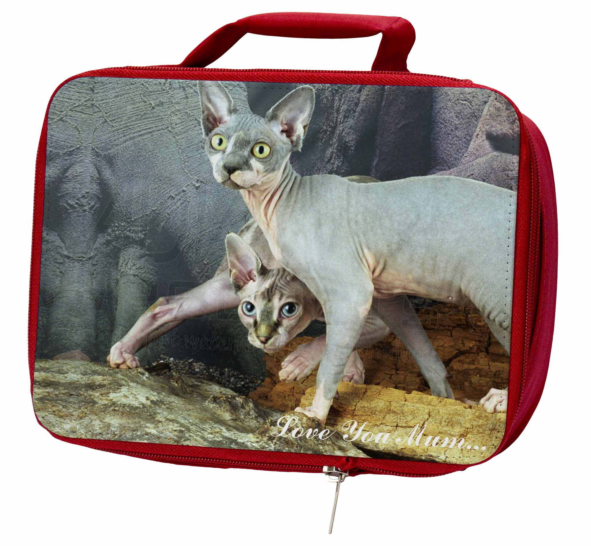 Sphynx Cat 'Love You Mum' Insulated Lunch Red School Lunch Insulated Box/Picnic Bag, AC-24lymLBR 17909f