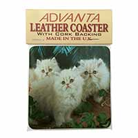 Cream Persian Kittens Single Leather Photo Coaster Perfect Gift