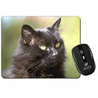 Beautiful Fluffy Black Cat Computer Mouse Mat Birthday Gift Idea