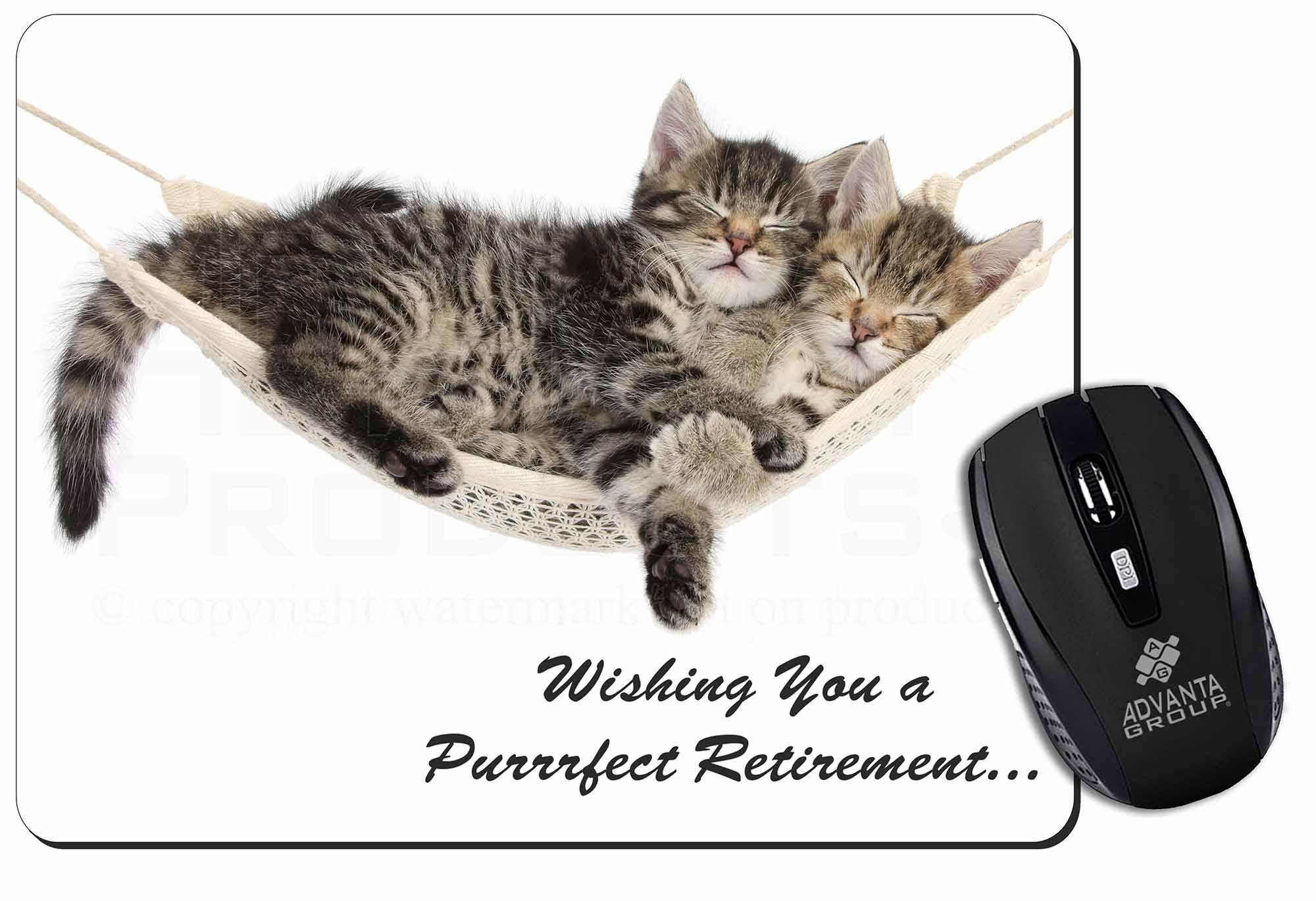 Kittens on Hammock /'Retirement/' Computer Mouse Mat Christmas Gift I AC-2RET206M