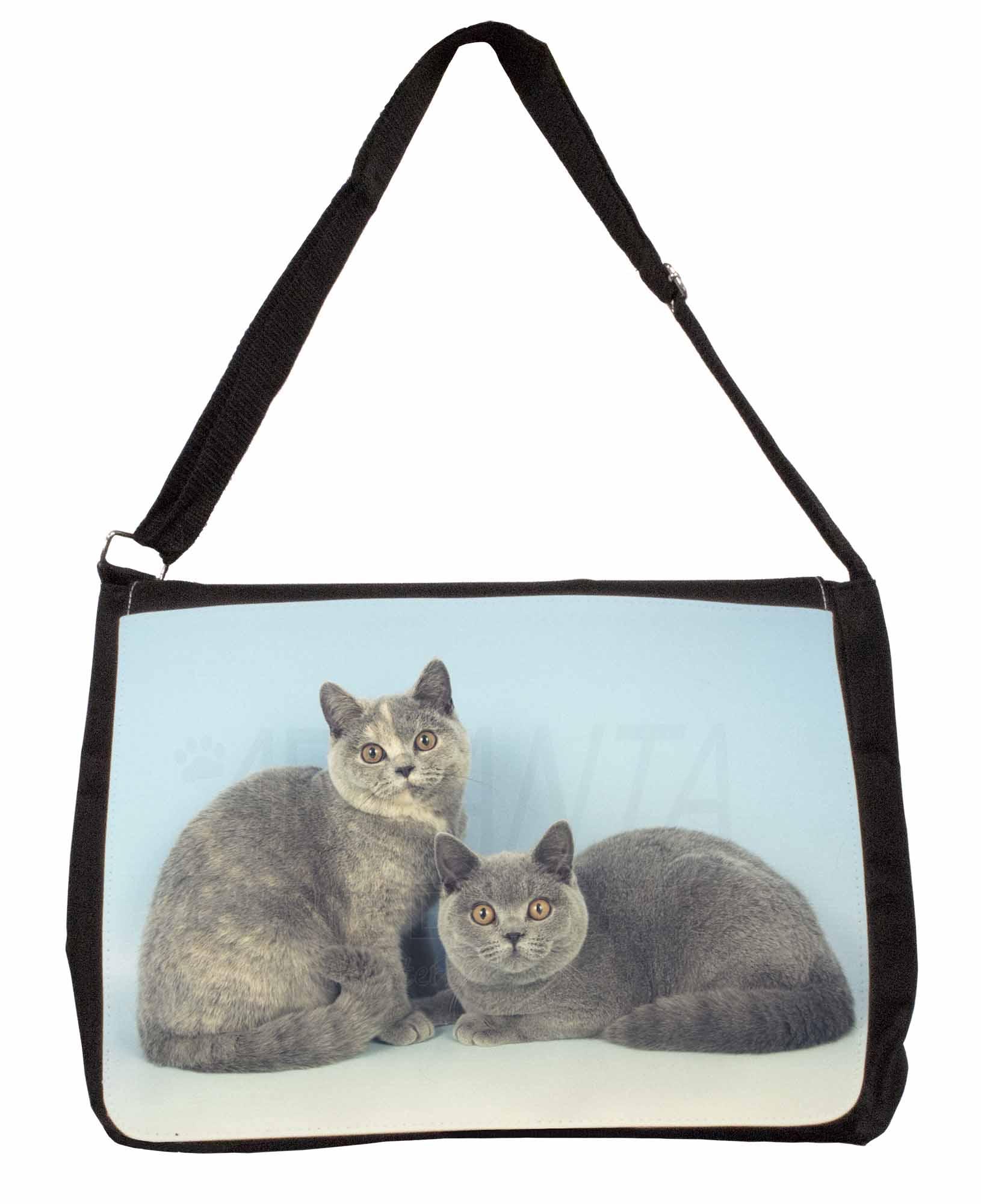British Blue Cat /'Morning Gorgeous/' Large Black Laptop Shoulder Bag Sch MG-11SB