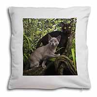 Two Burmese Cats Soft Velvet Feel Cushion Cover With Pillow Inner